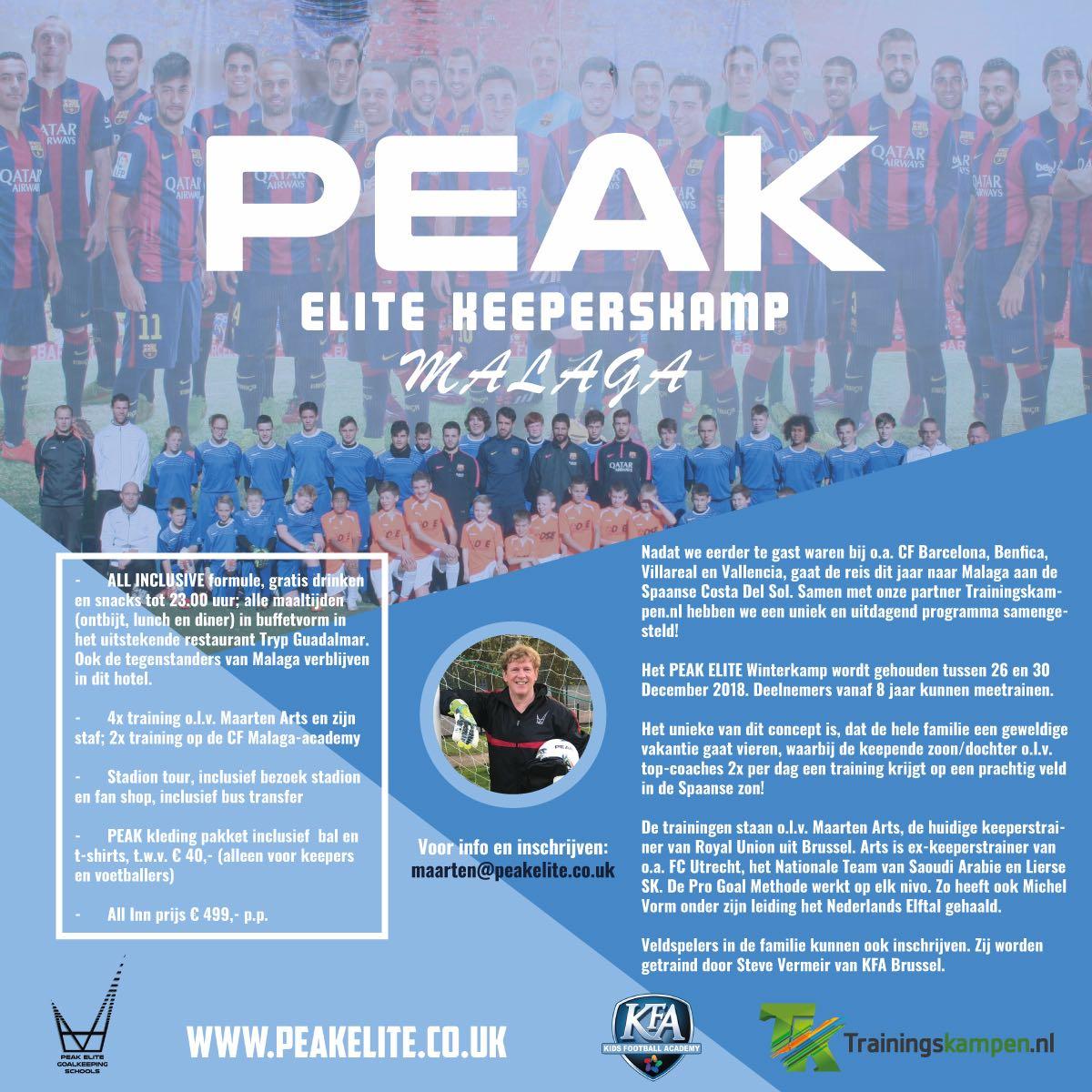 PEAK Malaga trainingskamp flyer